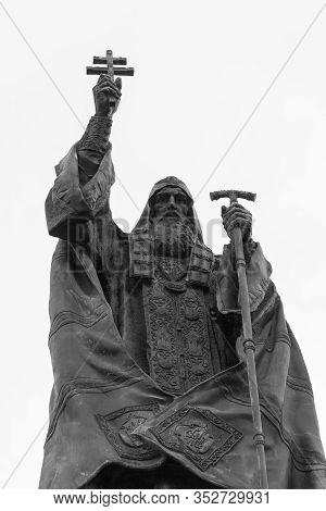 Monument To Patriarch Germogen In Alexander Garden In Moscow. Bronze Sculpture Historical Patriarch