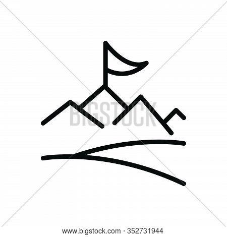 Black Line Icon For Objective Achievement Accomplishment Cognition Success Prosperity  Flag Challeng