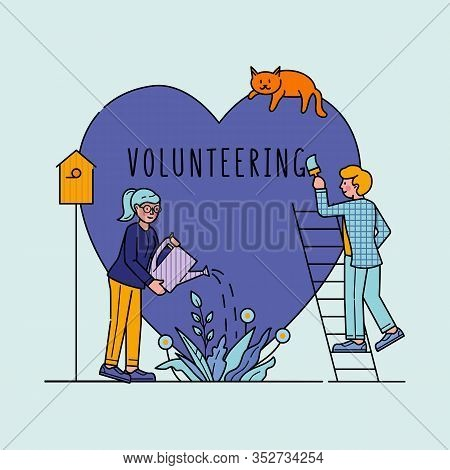 Voluntary Charity Persons Vector Illustration. Symbolic Love Of Humanity As Nonprofit Social Teamwor
