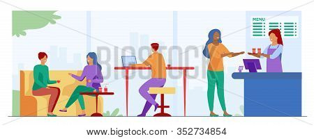 People Meeting In Cafe For Lunch Vector Illustration. People Sitting At Tables, Drinking Coffee And