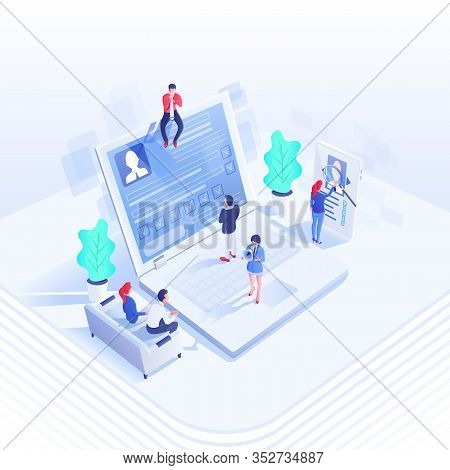 Recruitment Team Isometric Vector Illustration. Employers And Candidates 3d Cartoon Characters. Huma