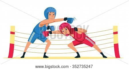 Amateur Boxing Match Flat Vector Illustration. Young Athletes In Gloves And Protective Helmets Carto