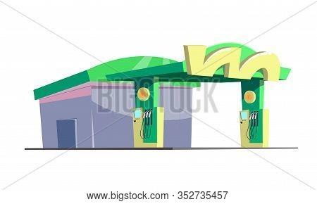 Empty Gas Station Flat Vector Illustration. Car Refuel, Automobile Refilling Service Building Exteri