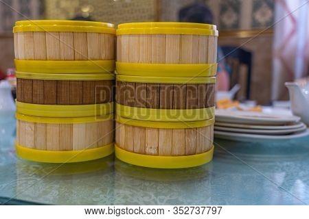 Dimsum Bamboo Steamer Boxes In Hong Kong Restaurant