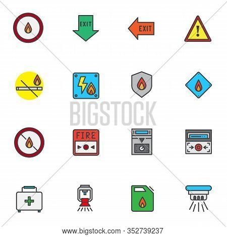 Emergency Evacuation Filled Outline Icons Set, Line Vector Symbol Collection, Linear Colorful Pictog