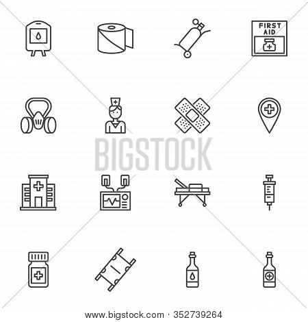 Emergency Kit Line Icons Set. Linear Style Symbols Collection, Outline Signs Pack. Vector Graphics.