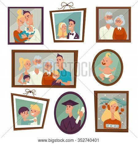 Family Portrait And Photos In Frames On Wall Isolated Icon