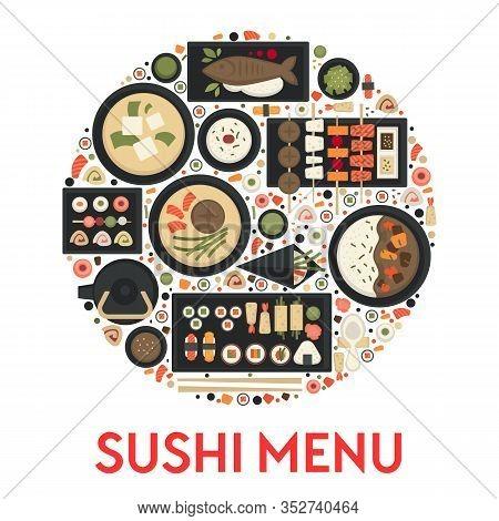 Sushi Menu, Japanese Food Restaurant, Green Tea And Rolls