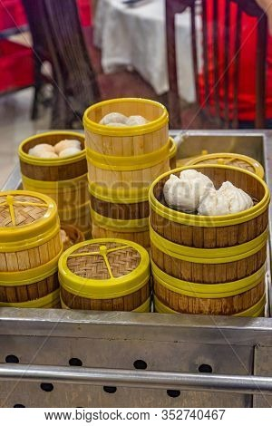 Fresh-cooked Dimsum Bamboo Steamer Boxes In Hong Kong Restaurant