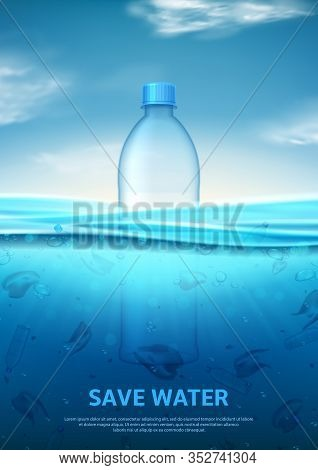 Water Pollution Concept Poster. Stop Ocean Pollution. Ecology Problem Concept With Polluted Water An