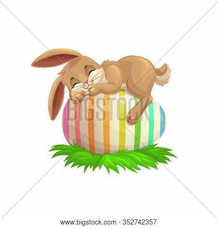 Easter Cartoon Bunny Sleeping On Striped Holiday Egg. Egghunting Party Vector Design With Cute Rabbi