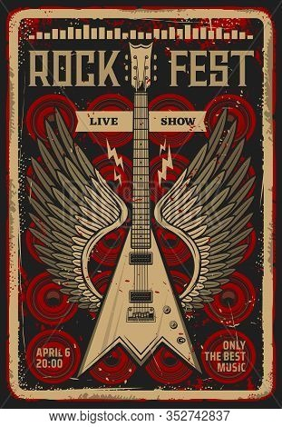 Rock Festival Music Concert Retro Poster. Vector Electric Guitar With Wings, Equalizer Sound Waves A