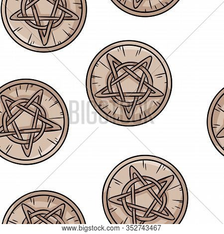 Pentacle Occult Signs Comic Style Doodles Top View Seamless Pattern. Wooden Pentagram Hand Drawn Mag