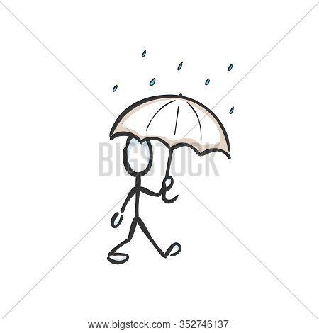 Man With Umbrella Walking In The Rain. Rainy Day, Rainy Weather. Hand Drawn. Stickman Cartoon. Doodl