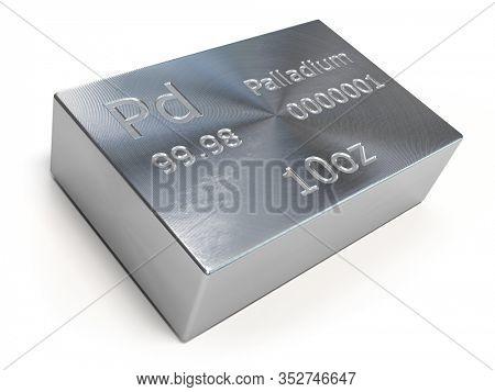 Palladium bar or ingot isolated on white. Precious metals. 3d illustration
