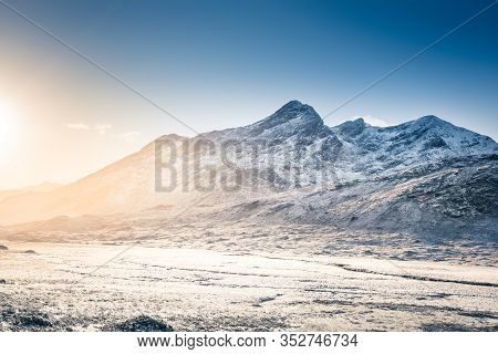 Wintery In Mountains - Snow, Rocky Mountains, Sunrise - Cuillin Hills, Isle Of Skye, Scotland