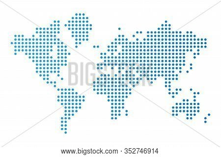 Abstract Computer Graphics World Map Of Blue Round Dots. Vector Illustration
