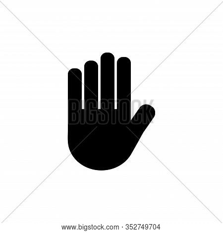 Stop Hand. Flat Vector Icon Illustration. Simple Black Symbol On White Background. Stop Hand Sign De