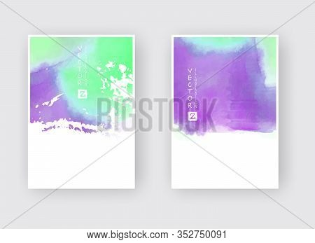 Set Of Cards With Watercolor Blots. Set Of Cards With Hand Drawn Blots Element On White Background