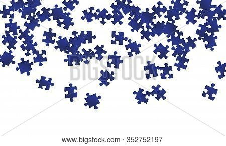 Business Brainteaser Jigsaw Puzzle Dark Blue Pieces Vector Background. Scatter Of Puzzle Pieces Isol