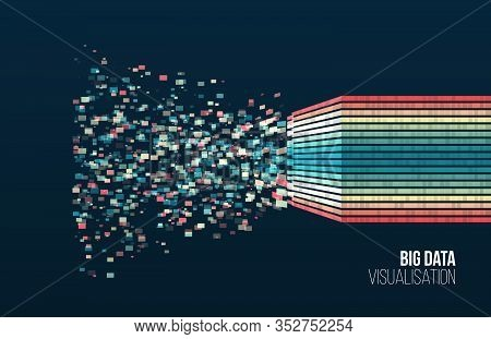 Big Data Visualization. Information Analytics Concept. Abstract Stream Information With Square Array