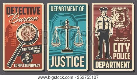 Detective, Police And Justice Department, Vector Vintage Posters. Detective Investigation Bureau And