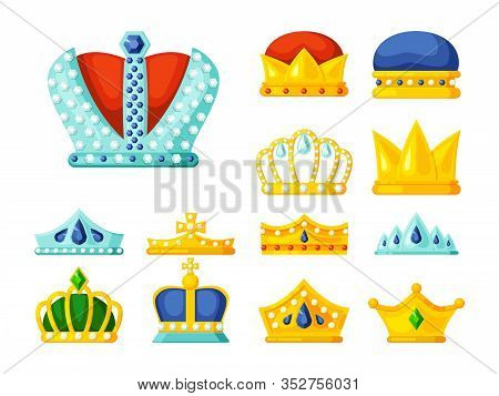 Crowns. Luxury Monarch Symbols Of Power Golden Diadem And Crowns For Kings And Princes Royal Heraldr