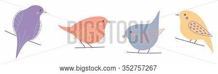Set Of Cute Cartoon Birds, Colorful Birds In Minimal Style. Vector Illustration, Birds Isolated On W