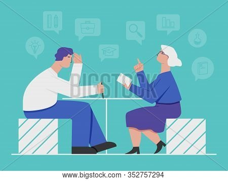 Female Tutor And Young Man Student. The Teacher S Help At Home. Flat Vector Illustration In Blue Ton