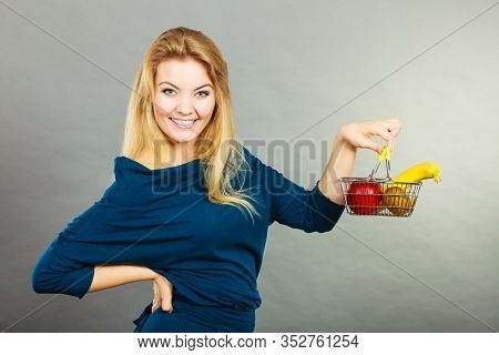 Buying Healthy Food, Vegetarian, Gluten Free, Vegan Products. Happy Woman Holding Shopping Cart With
