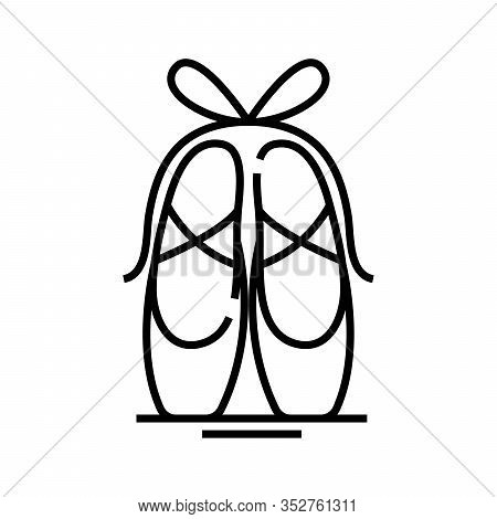 Ballet Shoes Line Icon, Concept Sign, Outline Vector Illustration, Linear Symbol.