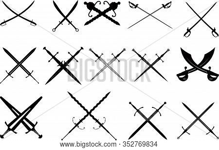 A Large Set Of Fourteen Crossed Diverse Silhouettes Of Medieval Swords, Dagger Swords