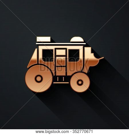 Gold Western Stagecoach Icon Isolated On Black Background. Long Shadow Style. Vector Illustration