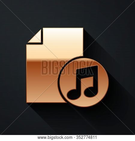 Gold Music Book With Note Icon Isolated On Black Background. Music Sheet With Note Stave. Notebook F