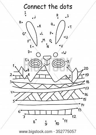 Funny Small Easter Rabbit And A Half Of Colored Egg Coloring Page. Educational Dot To Dot Game With