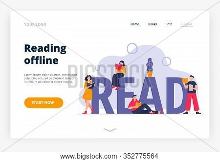 Landing Page Template Of The Offline Reading Theme. Modern Flat Vector Illustration With People Read