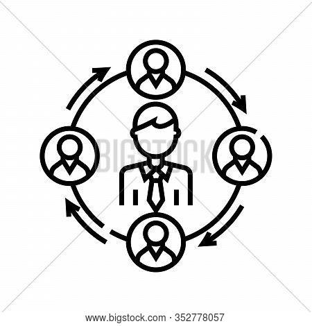 Ceo Management Line Icon, Concept Sign, Outline Vector Illustration, Linear Symbol.