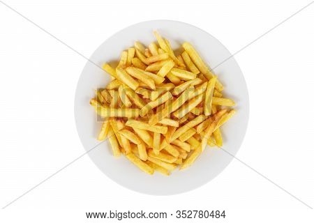 Hot Appetizer French Fries Crispy, Golden, Deep-fried, Fried In Oil Before Alcohol, Food On Plate, W