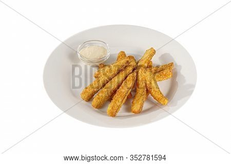 Hot Appetizer Chicken Nuggets, Shrimps In Crispy Golden Breadcrumbs, Fried In Oil, Mayonnaise Sauce,
