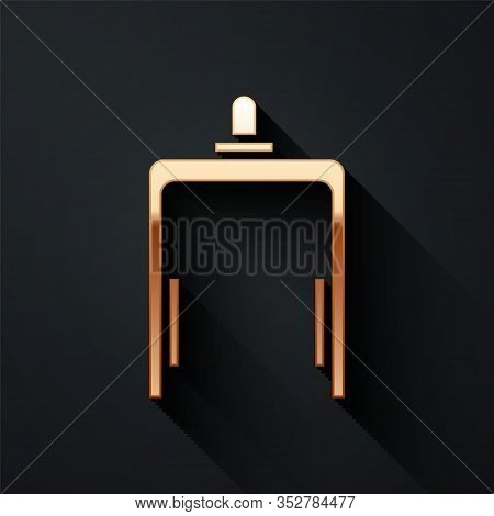 Gold Metal Detector In Airport Icon Isolated On Black Background. Airport Security Guard On Metal De