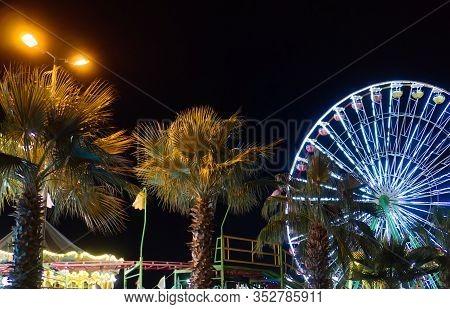 Parko Paliatso Luna Park In Cyprus At Night.