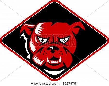 Illustration of a bulldog head angry set inside a diamond on a black background poster