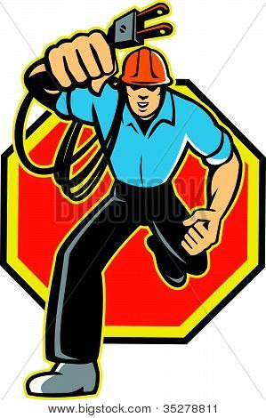 Electrician Worker Running Plug