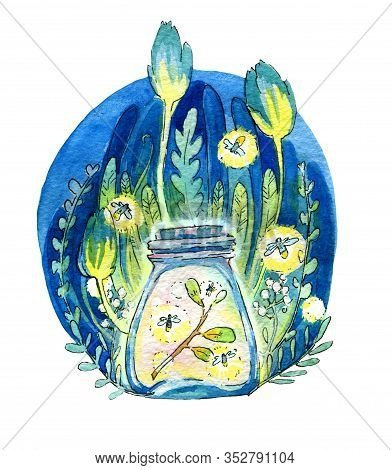 The Magic Jar. Luminous Jar With Fireflies, Lights, Night And Magic Against The Background Of The Fo