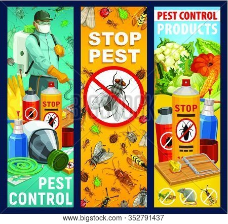 Pest Control Service Vector Banners. Insects, Exterminator And Equipment. Bugs Of Cockroach, Ant And