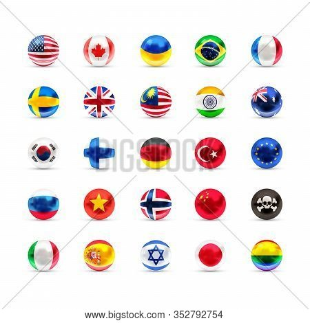 Flags Of Sovereign States Projected As A Glossy Spheres On A White Background