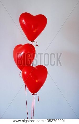 Red Heart Baloons With White Background. Red Baloons With White Background
