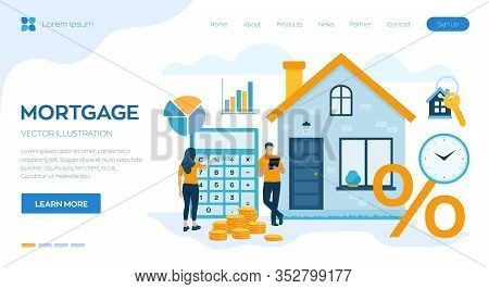 Mortgage Concept. House Loan Or Money Investment To Real Estate. Property Money Investment Contract.