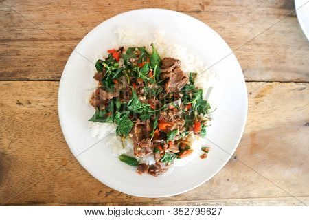 Stir Fried Pork Or Stir Beef With Holy Basil And Rice