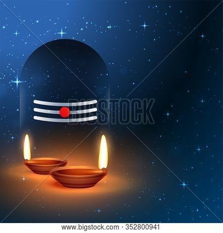 Lord Shiva Shivling Idol With Worship Diya Design Illustration